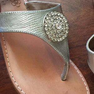 Shoes - jeweled silver flip flops